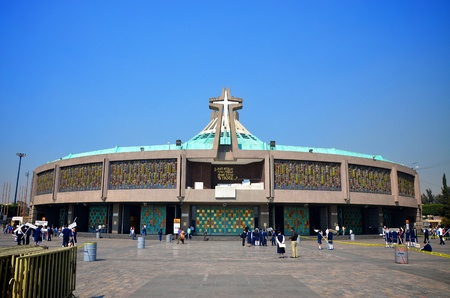 cathedrals: Wide view of the new Basilica of Our Lady of Guadalupe, Mexico City