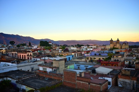 plaza: Looking over Oaxaca city view during sunset