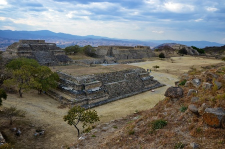 Wide view of Monte Alban ruins, Mexico  photo