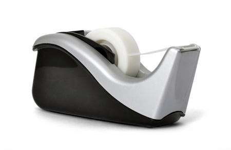 angled view: Angled view of sticky tape dispenser on white background  Stock Photo
