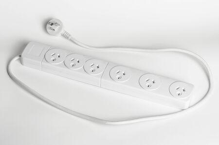 power plug: Australian white 6 outlet power board Stock Photo