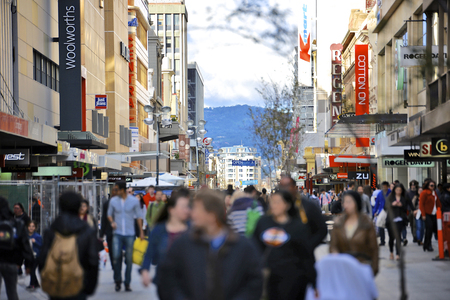 mall: Adelaide, South Australia - February 24, 2015: Rundle Mall is the premier shopping area located in the CBD of Adelaide, South Australia with 23 million visitors annually.