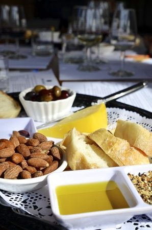 nibbles: Wine tasting platter of cheese and nibbles