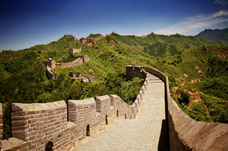 chinese wall: The Great Wall of China near Jinshanling on a sunny day Stock Photo