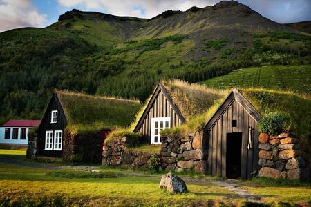 Traditional Icelandic Turf Houses near Sk�gar Stock Photo - 18978441