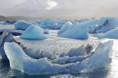 greenhouse effect: Melting icebergs at Jokulsarlon lagoon, Iceland