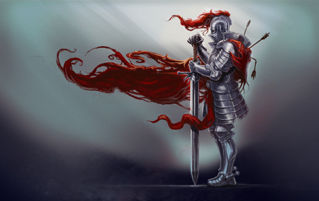 Illustration of medieval knight with long sword and red robe blowing in wind, white background