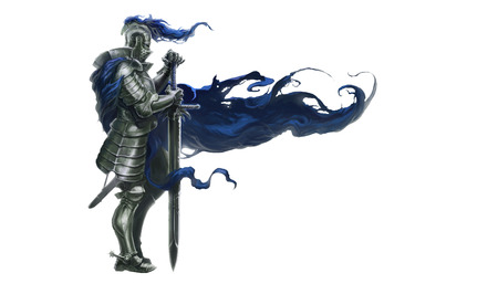 Illustration of medieval knight with long sword and blue robe blowing in wind, white background