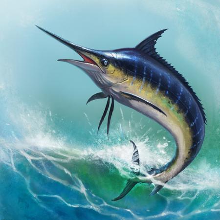 Blue marlin among the ocean waves Foto de archivo