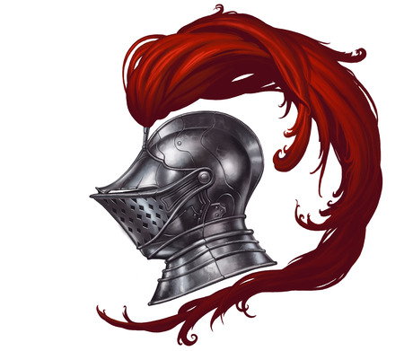 Knights Helmet with Red Feathers 스톡 콘텐츠