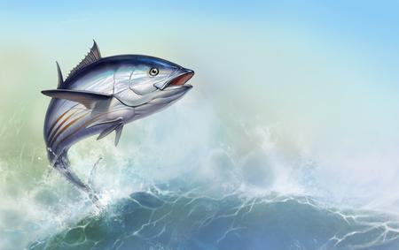 gestreifter Thunfisch, Skipjack Thunfisch, Katsuwonus pelamis. Thunfisch auf dem Hintergrund großer Wellen Standard-Bild