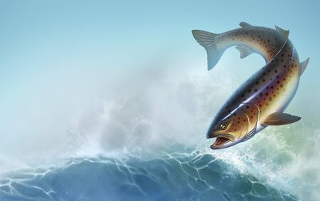 Rainbow trout fish on background realistic illustration. Trout delicacy. Wild river fish on the background of waves a realistic illustration of a place for text.