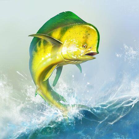 Mahi mahi yellow or dolphin fish on sea wave. Big dorado fish yellow-green realistic background illustration. 免版税图像