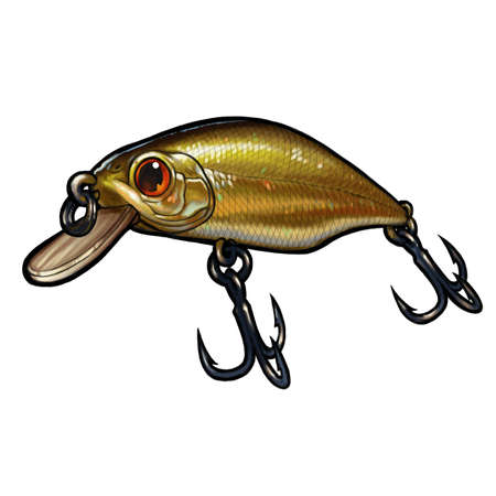 Fishing bait wobbler Crank bait gold fishing for a predator. Bait for fish illustration art isolate realistic. 免版税图像