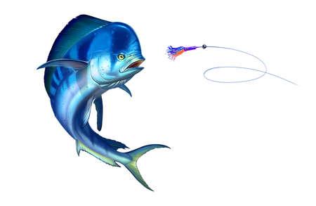 Blue plastic mahi mahi or dolphin fish attacks bait sea swim squids skirt. Realistic illustration of mahi-mahi or dolphin fish on white background isolate.