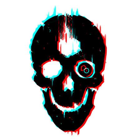 Cyberpunk skull glitch effect illustration sketch art isolate. 免版税图像