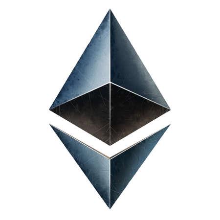Ethereum Symbol illustration isolate realism. ETH logo. Cryptocurrency. 免版税图像