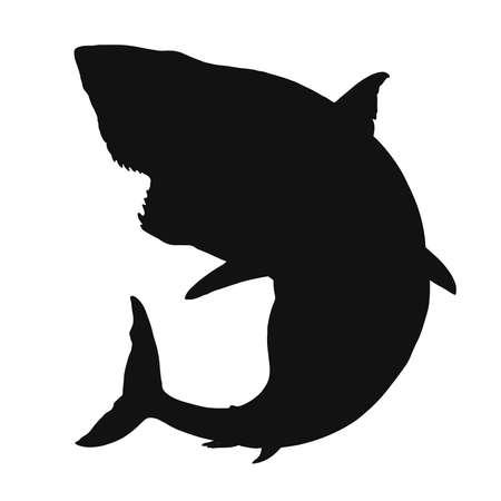 Great white shark silhouette flat black vector isolate illustration.