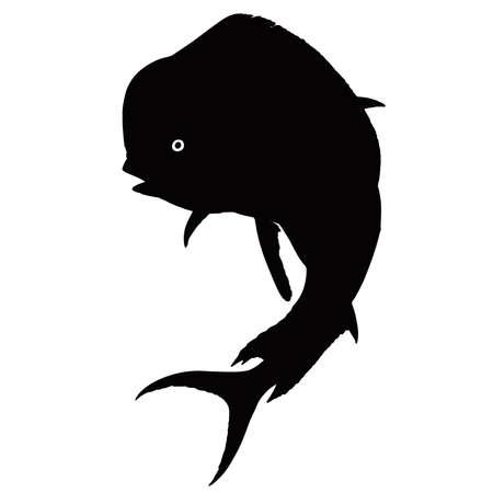 Mahi mahi or dolphin fish silhouette flat black vector isolate illustration. 矢量图像