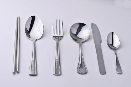 chopsticks fork, knife and spoons isolated Stock Photo - 7393965