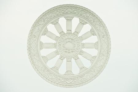 shakti: Wheel of dharma on glass