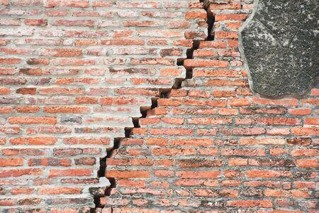 cracked brick wall  photo