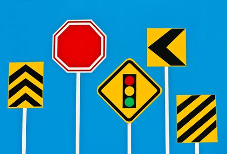Traffic Signs on Blue Board  photo