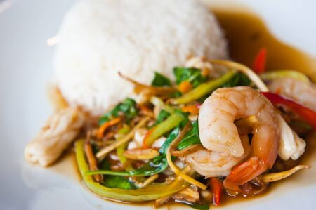 Seafood Spicy Stir-Fry with Rice, Thai food  photo