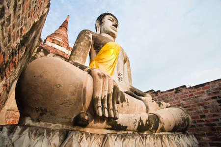 Buddha Status at Wat Yai Chaimongkol, Ayutthaya, Thailand  Stock Photo - 9755436