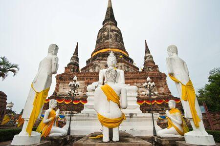 White Buddha Status at Wat Yai Chaimongkol, Ayutthaya, Thailand  photo