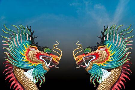 japanese culture: Beautiful dragon with nice sky