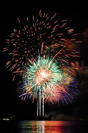 aerial bomb: Fireworks at Pattaya beach, Thailand  Stock Photo
