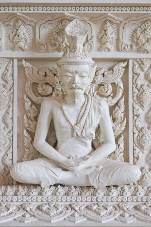 recluse: Ascetic statue in Thai style molding art at temple