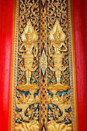 Traditional Thai style church door  photo