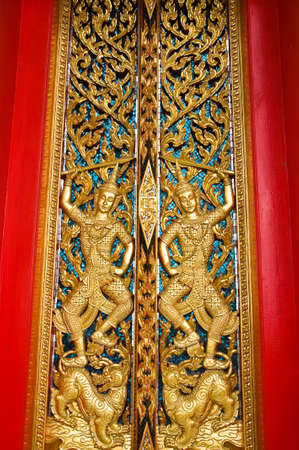 Traditional Thai style church door  photo