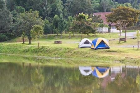khao:  two tent camping near lake, Khao Yai National park, Thailand