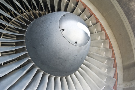 turbo:  turbine blades of an aircraft jet engine.  Stock Photo