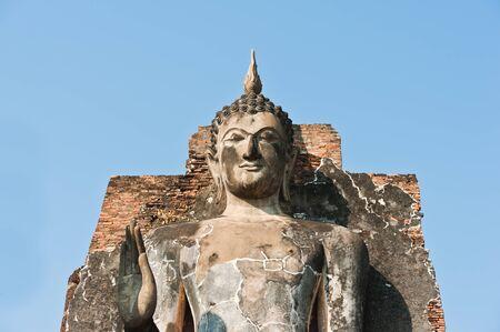 Buddha image in Wat Saphan Hin at Sukhothai Historical Park, Thailand