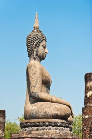 Buddha image in Wat Mahathat at Sukhothai Historical Park, Thailand