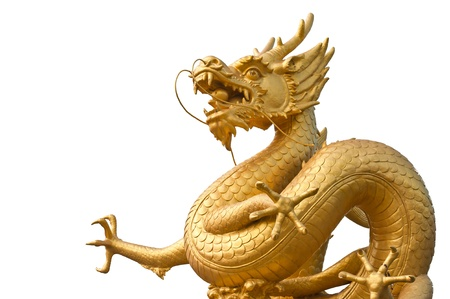 Chinese Golden Dragon Statue in Phuket, Thailand