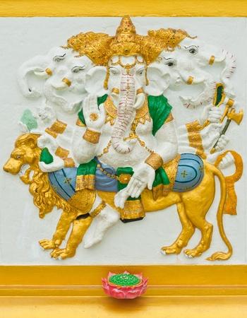 siddhivinayaka: Indian or Hindu God Named Heramba Ganapati at Wat Saman, Chachoengsao, Thailand