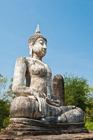 Buddha image in Wat Sa Si at Sukhothai Historical Park, Thailand
