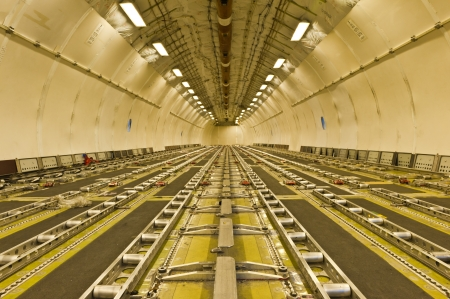 airplane cargo: Inside air cargo freighter