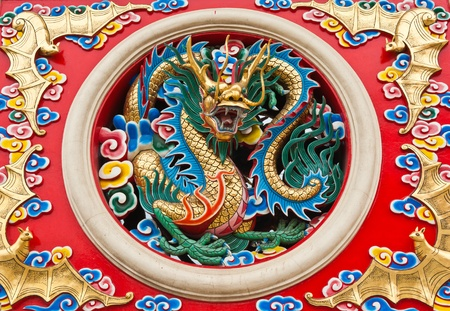 chinese temple: Dragon statue in Chinese temple, Thailand