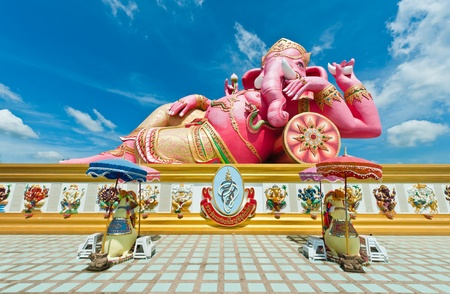 Pink ganesha statue at Wat Samarn, Chachoengsao, Thailand  Stock Photo