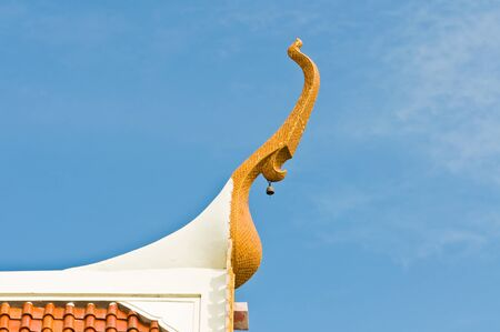 Gable apex of Thai temple. In Thai, its call Chaofah. this picture is bird mouth type photo