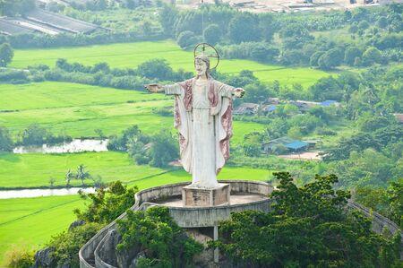 Statue of Jesus on Mountain photo