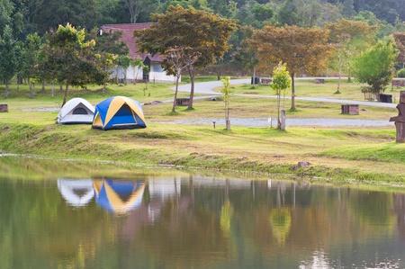 khao: two tent camping near lake, Khao Yai National park, Thailand  Stock Photo