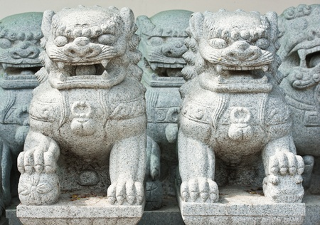 Twin Stone Lions sculpture photo