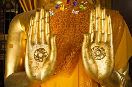thai yoga: Buddha statue hands  Stock Photo